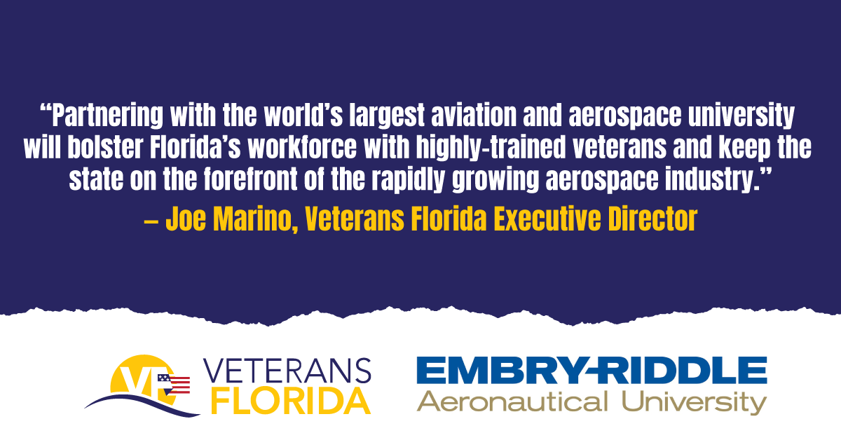 Veterans Florida, Embry-Riddle Partner to Connect Servicemembers with University's Aviation Maintenance Technology SkillBridge Program